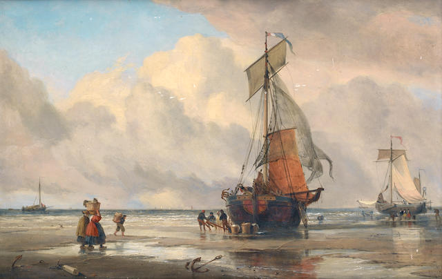 Edward William Cooke, RA (British, 1811-1880) Beached fishing vessel unloading its catch