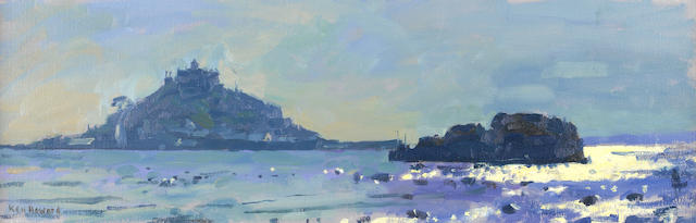 Ken Howard, R.A. (British, born 1932) St. Michaels Mount, Cornwall Winter Light 20 x 61 cm. (8 x 24 in.)