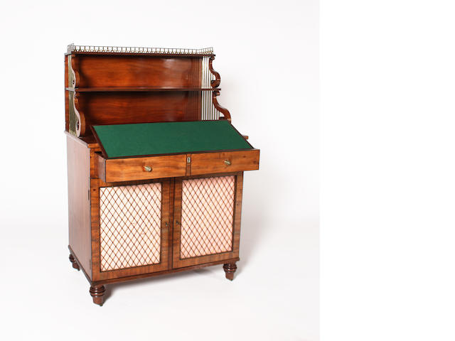 A George IV figured mahogany and line edged chiffonier of deep proportions