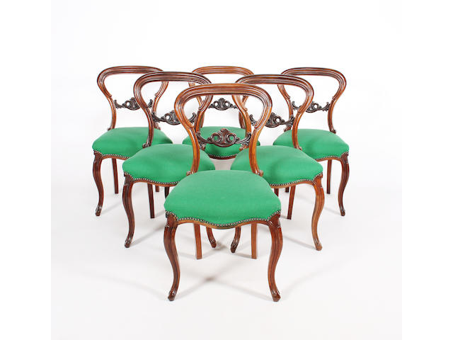A set of six early/mid-Victorian rosewood moulded frame standard chairs