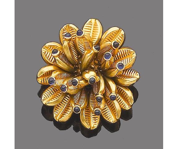 A sapphire-set clip brooch, by Cartier