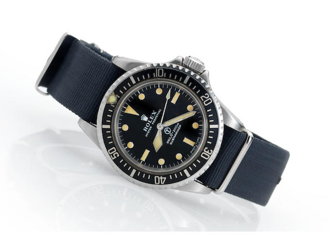 Rolex. A rare stainless steel automatic centre seconds Military Issue wristwatch Submariner, Ref:5513, Made in 1972, Issued in 1975