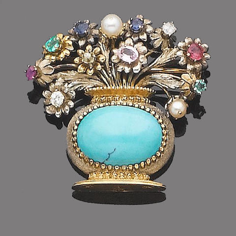 A multi gem-set giardinetto brooch