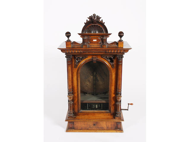 A late 19th century walnut upright Polyphon 29