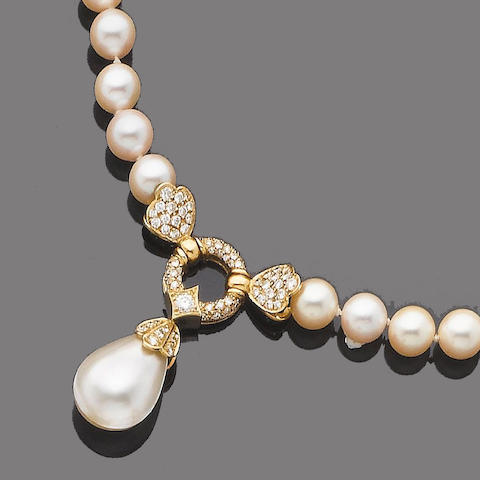 A cultured pearl, mabé cultured pearl and diamond necklace and earring suite (2)