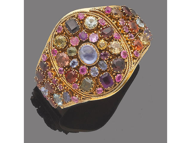 An early 20th century gem-set bangle