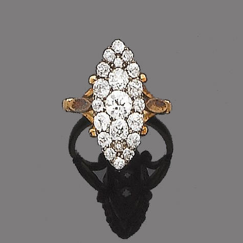 A late 19th century diamond dress ring