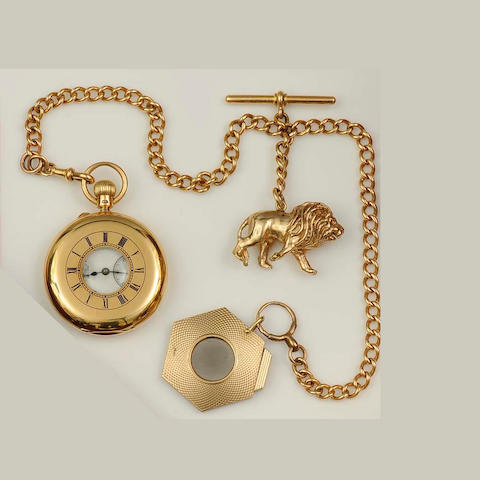 Dent, 33 Cockspur Street, London: An 18ct gold half hunter pocket watch on 18ct gold Albert chain