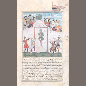 Two illustrated manuscript leaves depicting a hanged man and a battle scene, from a prose history Persia or India, (2)