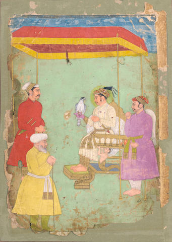 The Mughal Emperor Jahangir (reg. 1605-27) holding a falcon, enthroned under a red canopy, an attendant holding a gauri standing to the right, two courtiers before the throne Provincial Mughal, third quarter of the 17th Century