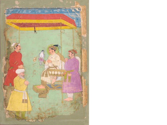 A Mughal emperor with a falcon and attendants