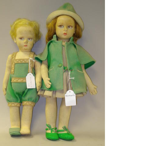 Pair of Lenci cloth dolls, Italian 1930's 2