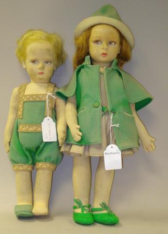 Pair of Lenci cloth dolls, Italian 1930's 2