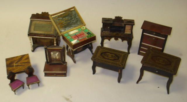 Ten pieces of Waltershausen rose wood dolls house furniture 10