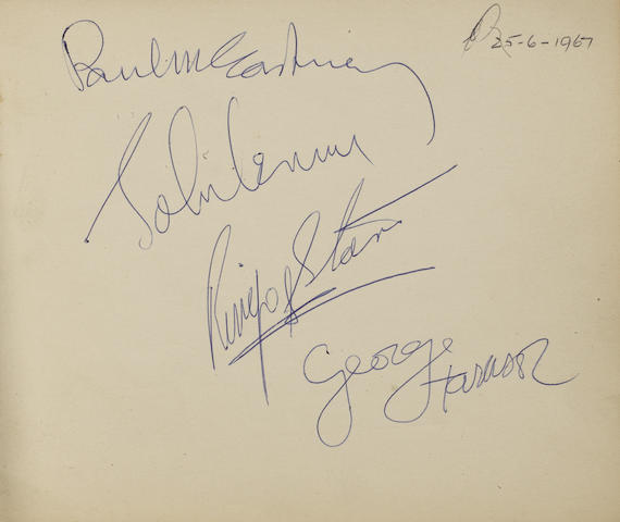 A set of Beatles autographs, 1967,