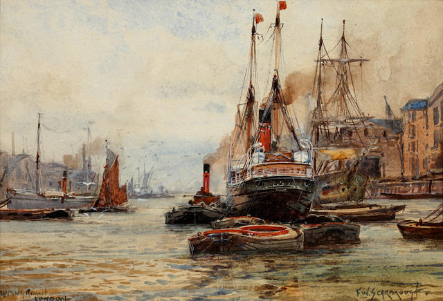 Frederick William Scarborough (British, born circa 1860-1939) 'Wapping Reach, London'