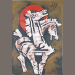 Maqbol Fida Husain (India, born 1915) Horses Head,