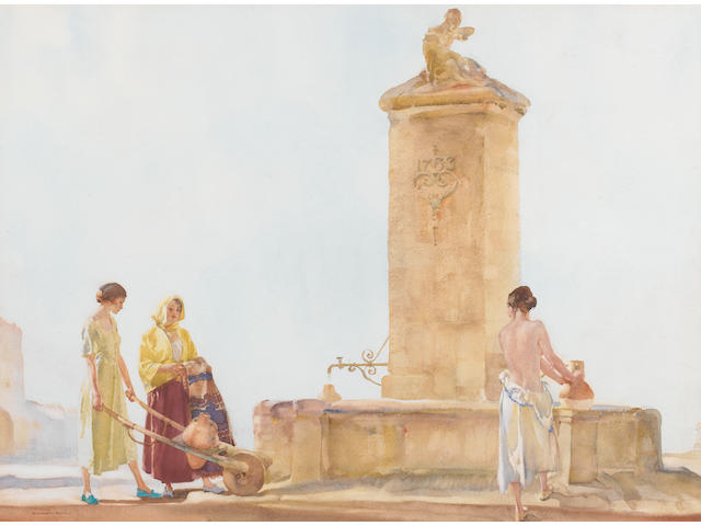 Sir William Russell Flint R.A., P.R.W.S. (British, 1880-1969) The Whispering Well 49.3 x 67 cm. (19 1/2 x 26 1/2 in.)