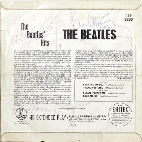 A rare autographed copy of 'The Beatles Hits' EP, 1963,