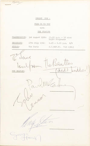 A radio programme recording schedule autographed by the Beatles, 1964,
