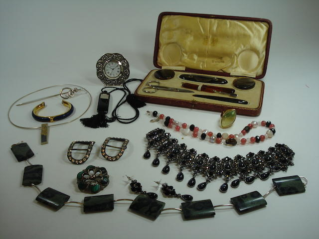A collection of jewellery including a modern pendant by Electrum, a Lalique necklace, a Francesca Romana ring, a pearl and bead necklace, a costume diamente necklace and earring suite, a manicure set, a silver book mark, scottish pebble brooch, green marble necklace, silver plated clock, bangle, 2 pairs of Georgian paste buckles
