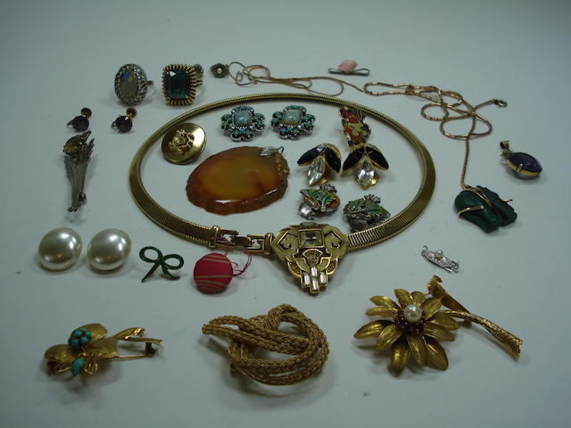 Three gold brooches, two rings and some costume jewellery