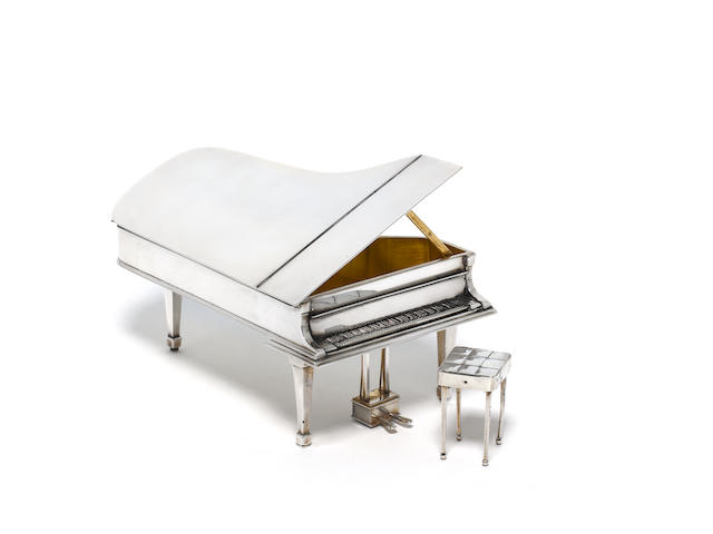 THEO FENNELL: A silver box modelled as a grand piano and stool, London 1993,