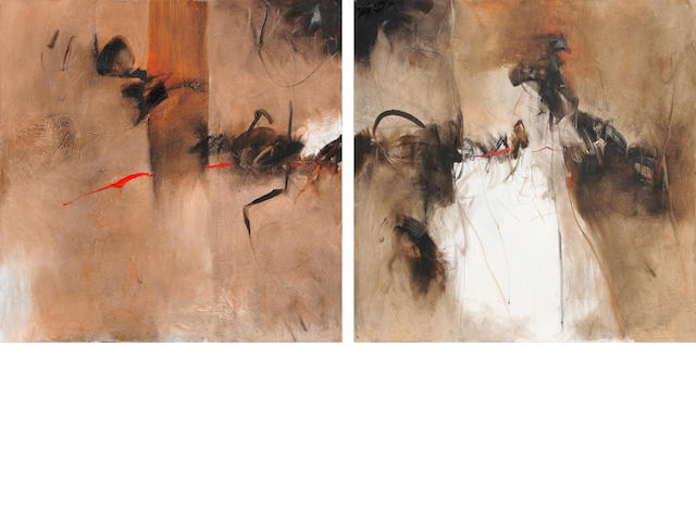 Farideh Lashai (Iran, born 1944) Untitled, each panel 100 x 100cm (39 3/8 x 39 3/8in); entire work 100 x 200cm (39 3/8 x 78 3/4in).