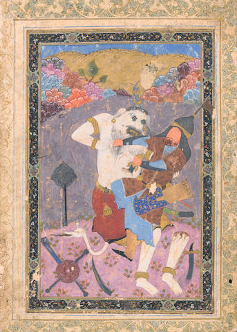 Rustam in combat with the White Div: a scene from Firdausi's Shahnama Bokhara, late 16th Century