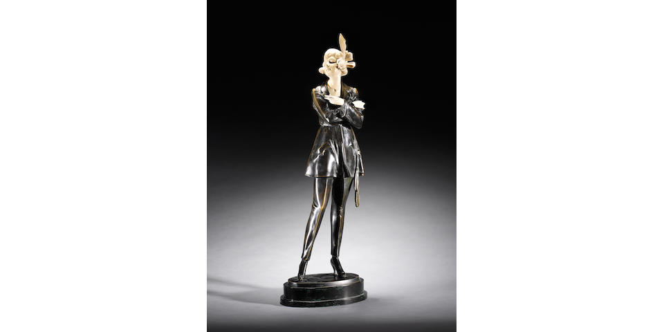 Bruno Zach 'The Cigarette Girl' a large patinated bronze and carved ivory Figure, circa 1925