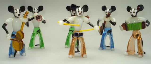 Mickey Mouse type blown glass six-piece band, European 1950's 6