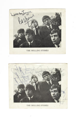 Two autographed Rolling Stones publicity cards, 1960s,