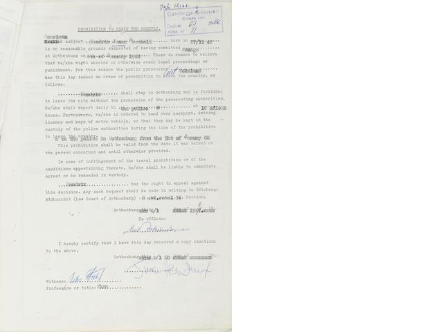 Documents concerning Jimi Hendrix's arrest in Sweden, January 1968,