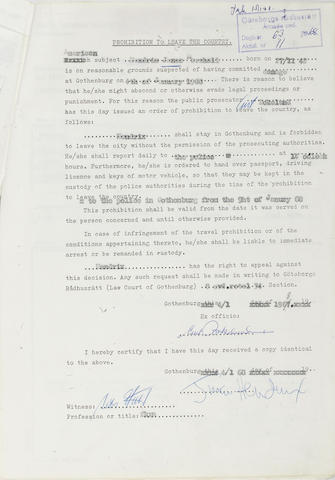 Documents concerning Jimi Hendrix's arrest in Sweden, January 1968,