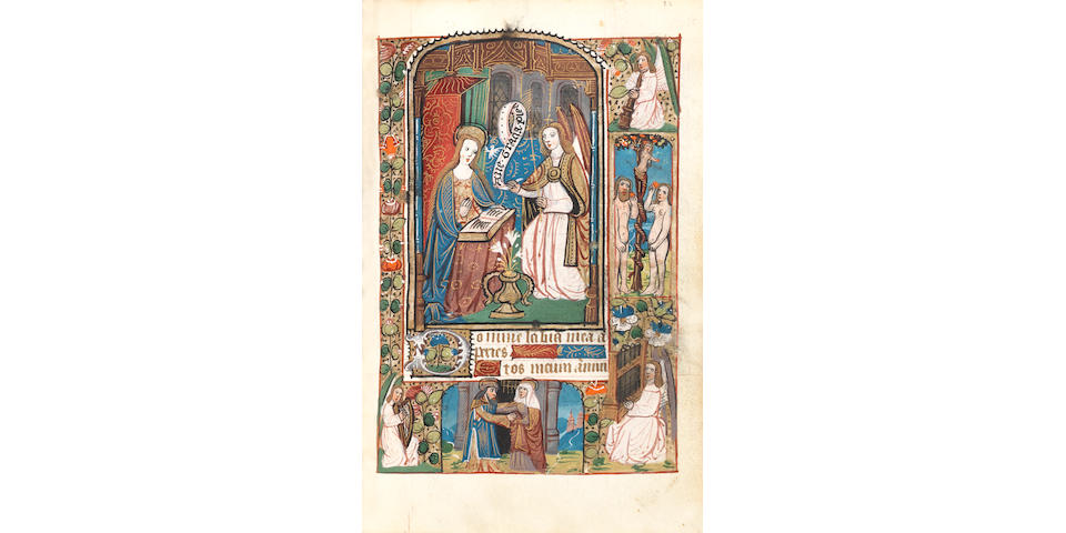 ILLUMINATED MANUSCRIPT Book of Hours, in Latin with additional prayers in French, use of Rouen, illuminated manuscript on vellum