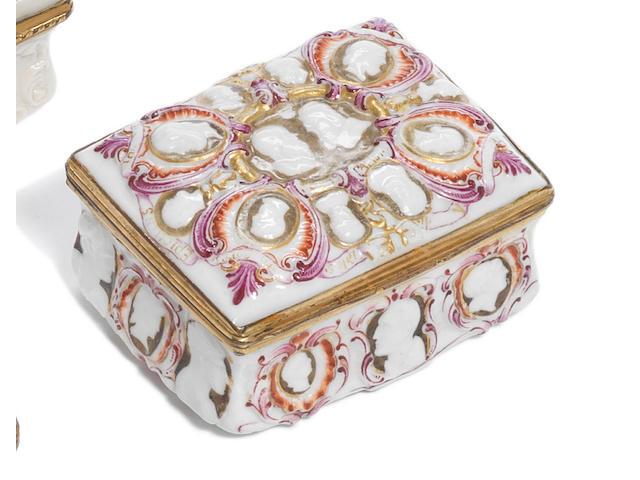 A Doccia gilt-metal mounted box 'a Cammei Bianchi' Circa 1745-1750