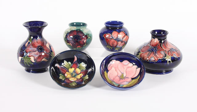 Four Walter Moorcroft vases and two small bowls