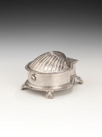 An important James I silver shell-form spice or sugar box, maker's mark TI star below, possibly Thomas Jemson, London 1620-21,