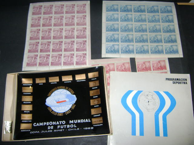 1962 Chile World Cup stamps, ashtray and 1978 tournament programme