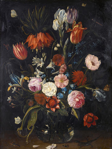 Jan van Kessel the Elder (Antwerp 1626-1679) A still life of tulips, a crown imperial, irises, roses and other flowers in a glass vase with a lizard, butterflies, a dragonfly and other insects