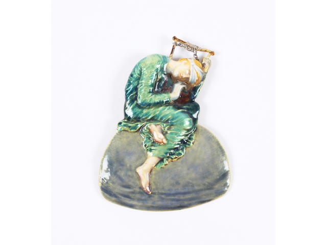 An Art Nouveau enamel pendant modelled as the figure of 'Hope' after George Frederic Watts Unmarked,