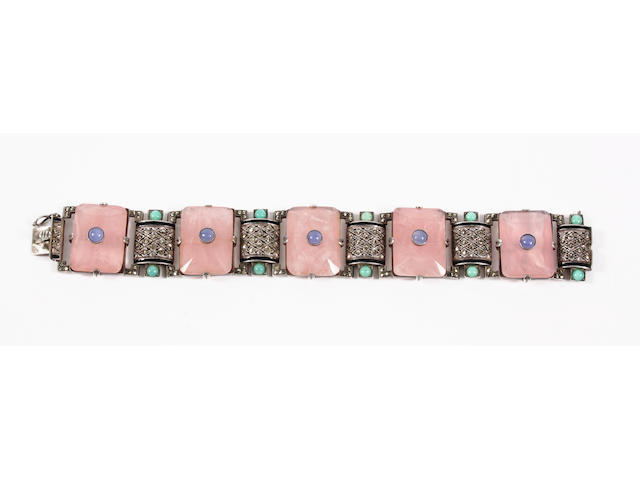 A Theodor Fahrner gem-set bracelet, circa 1925, With stamped maker's monogram and '935',