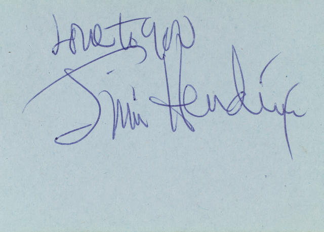 An autograph book signed by Jimi Hendrix, Cat Stevens, Englebert Humperdinck and others, 1967,