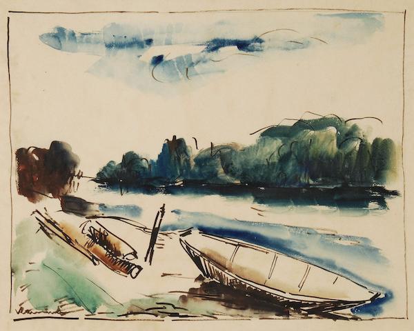 Maurice de Vlaminck (French, 1876-1958) Barque au bord de la rivière