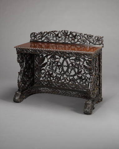 Pair of carved Indian sideboards