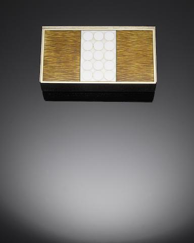GERALD BENNEY: A silver-gilt and enamelled box, London 1970, impressed GERALD BENNEY LONDON,