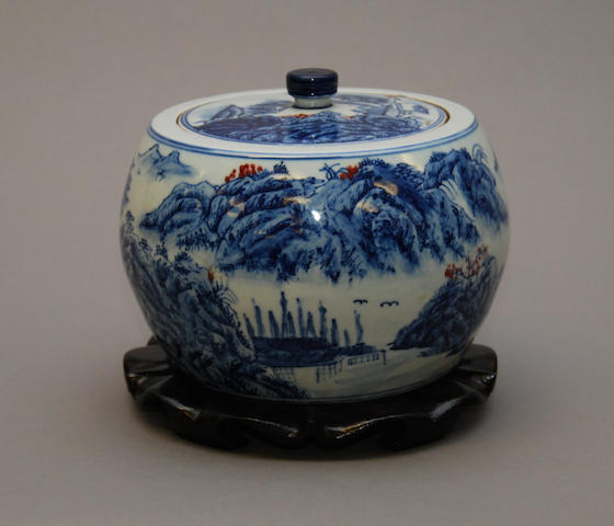 A Chinese blue and white storage jar and cover