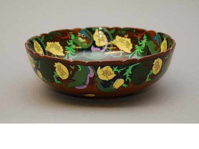 A Wileman Intarsio fruit bowl