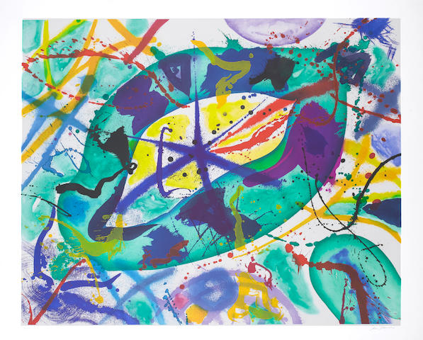 Sam Francis (American, 1923-1994) Trietto 1 Aquatint, 1991, printed in colours, on wove, with wide margins, signed and numbered 58/66 in pencil, 970 x 1190mm(38 1/4 x 46 4/5in)(PL) unframed