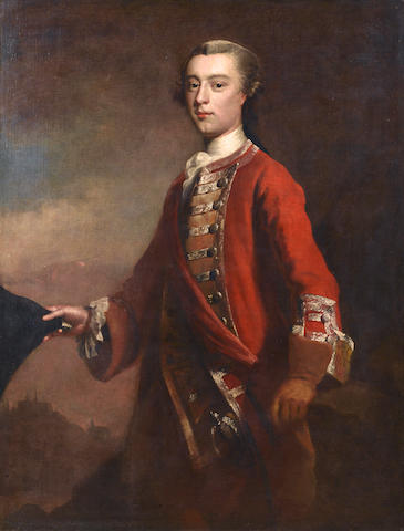 Studio of Joseph Highmore (London 1692-1780 Canterbury) Portrait of General James Wolfe standing in a landscape,